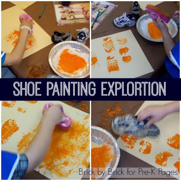 shoe painting exploration pre-K
