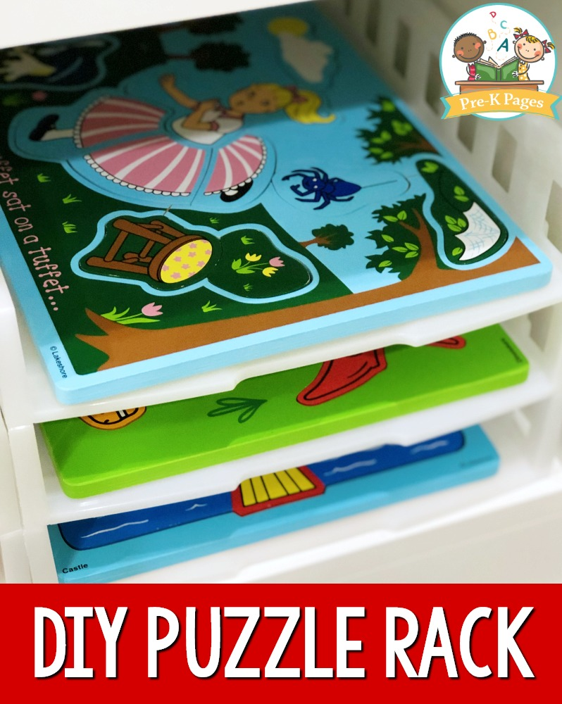 Inexpensive Puzzle Rack for Preschool