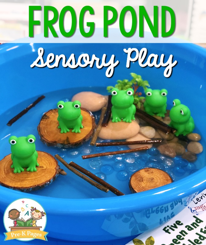 Pond Theme Sensory Bin with Frogs