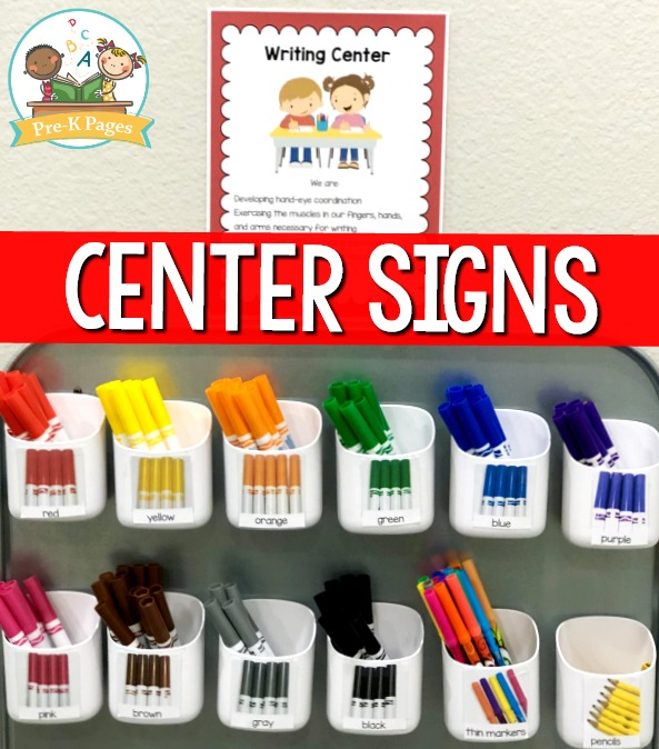 Preschool Writing Center Set Up