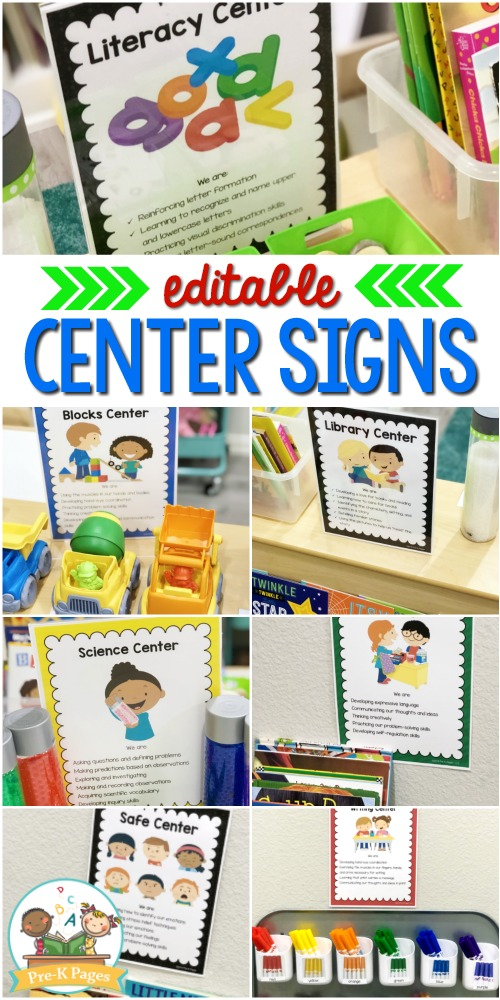 Printable Center Signs for Preschool