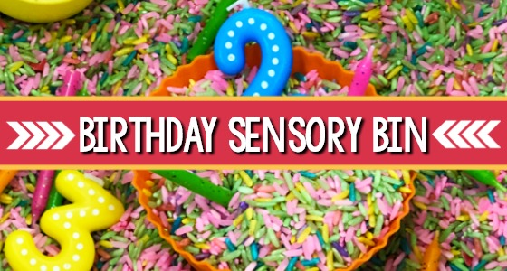 Birthday Party Sensory Bin for Preschool