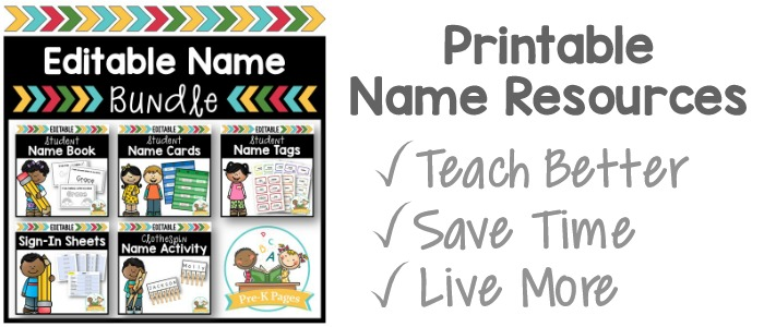 Editable Name Resources for Preschool and Pre-K