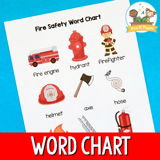 Fire Safety Word Chart