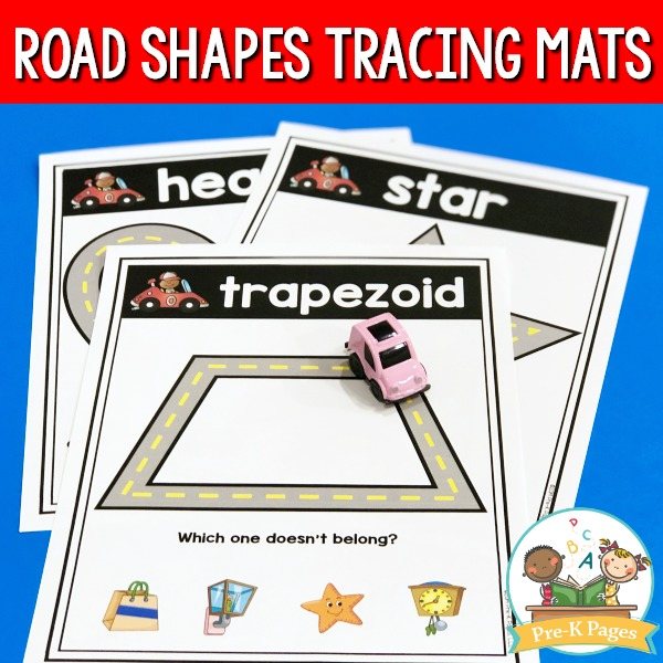 Road Shapes Tracing Mats
