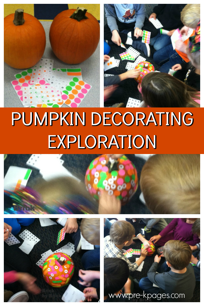 pumpkin decorating exploration for preschool