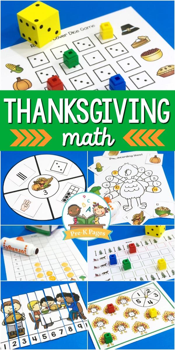 Thanksgiving Math Activities for Preschool