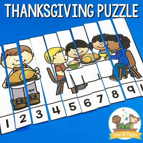 Thanksgiving Number Puzzle for Preschool