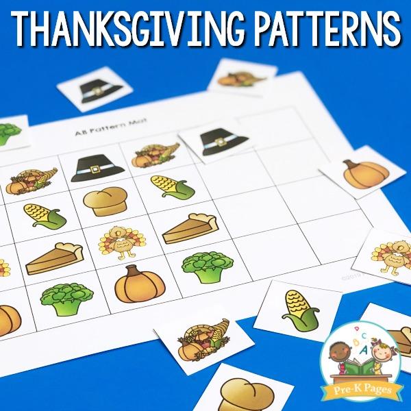 Thanksgiving Patterning Activity for Preschool