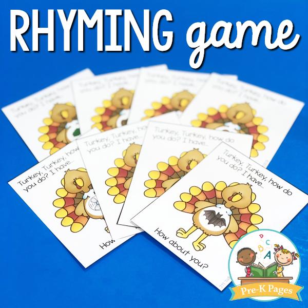 Thanksgiving Rhyming Game for Preschoolers