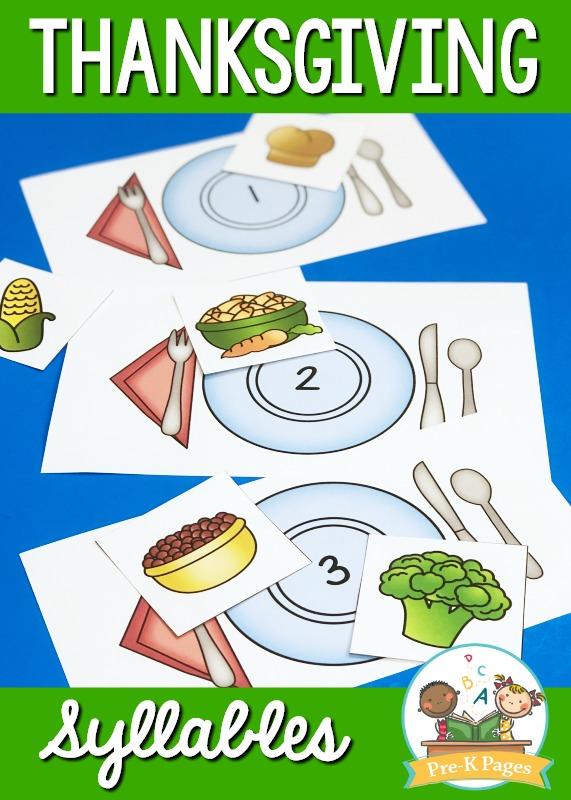 Thanksgiving Syllable Activity for Preschool