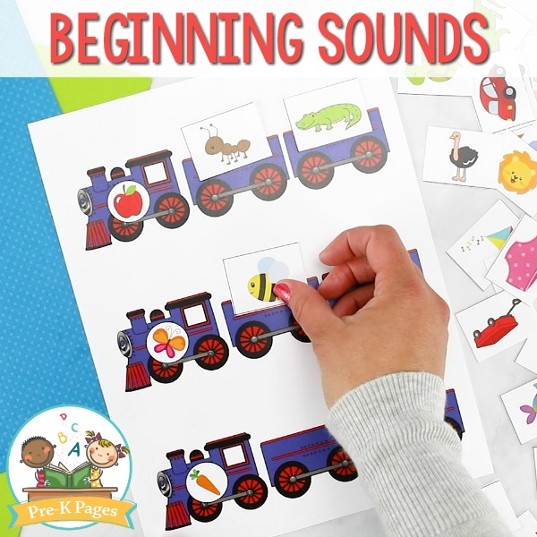 Train Beginning Sounds Activity for Pre-K