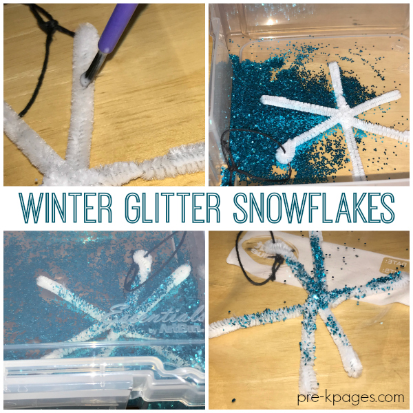 glitter snowflake in plastic tub with glitter