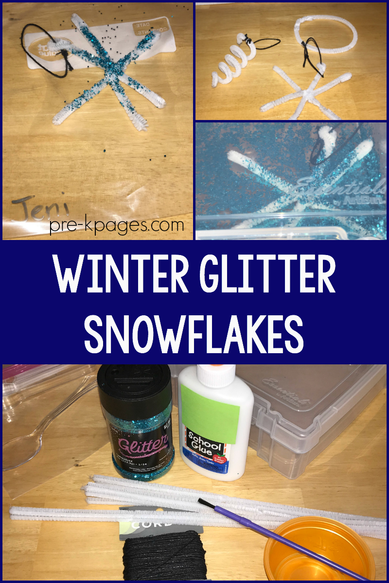 winter glitter snowflakes for preschool