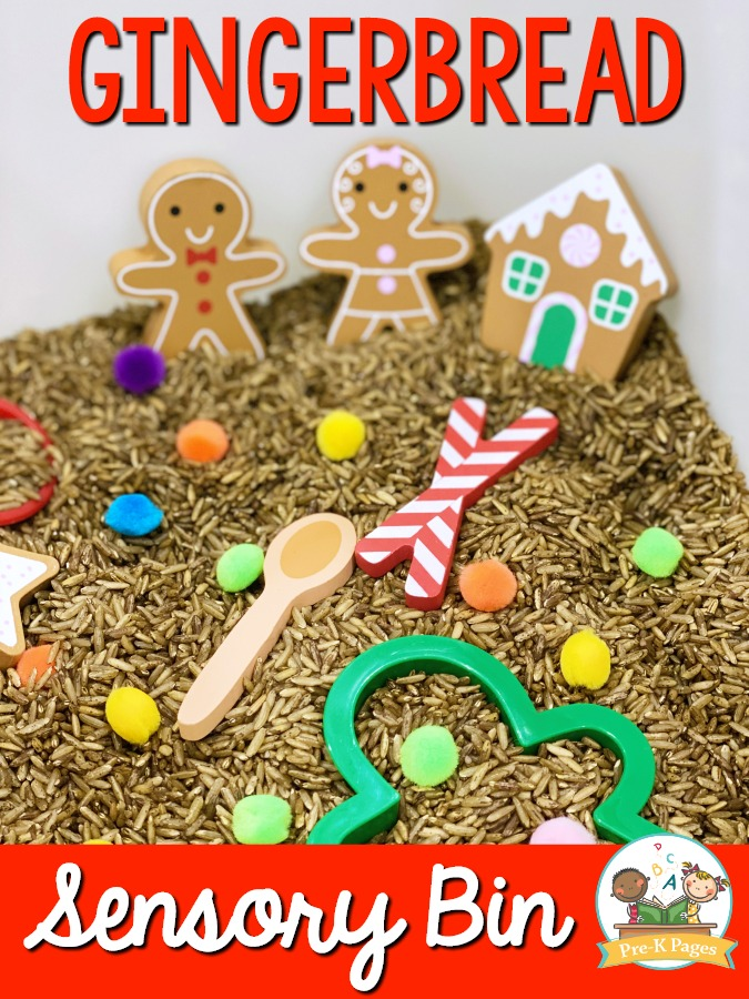 Gingerbread Man Sensory Bin for Preschool