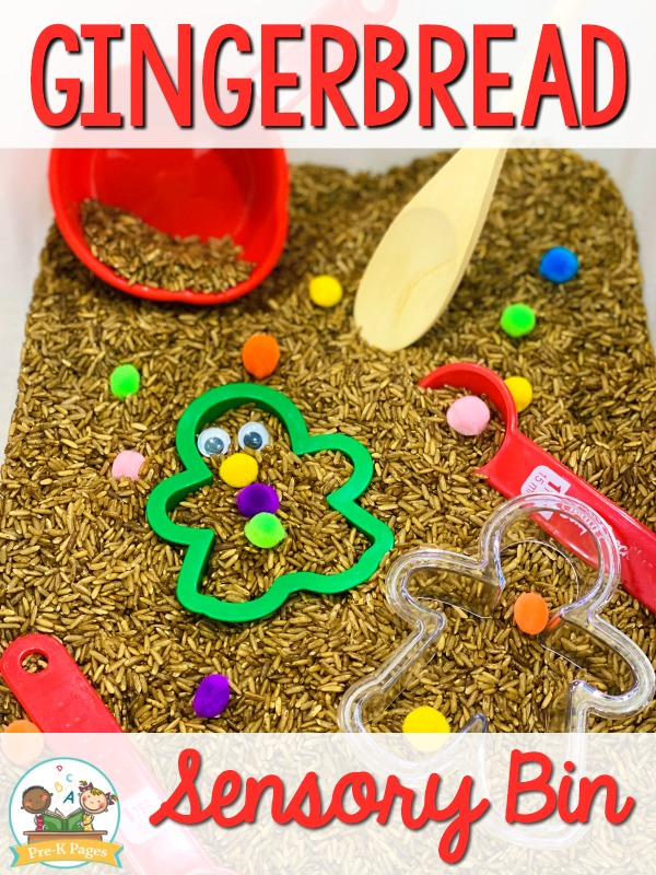 Gingerbread Sensory Bin for Preschool