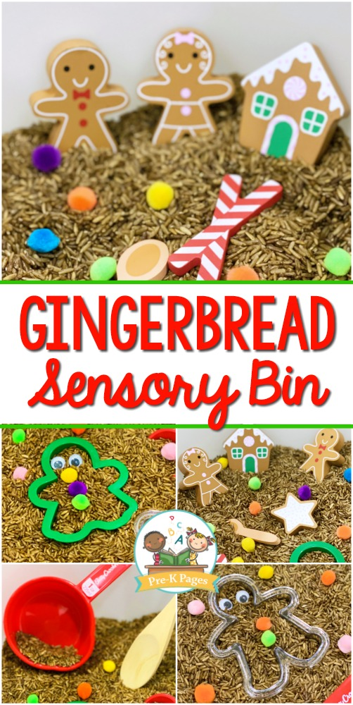 Gingerbread Theme Sensory Bin for Preschool