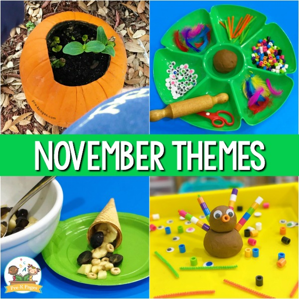 November Monthly Preschool Themes