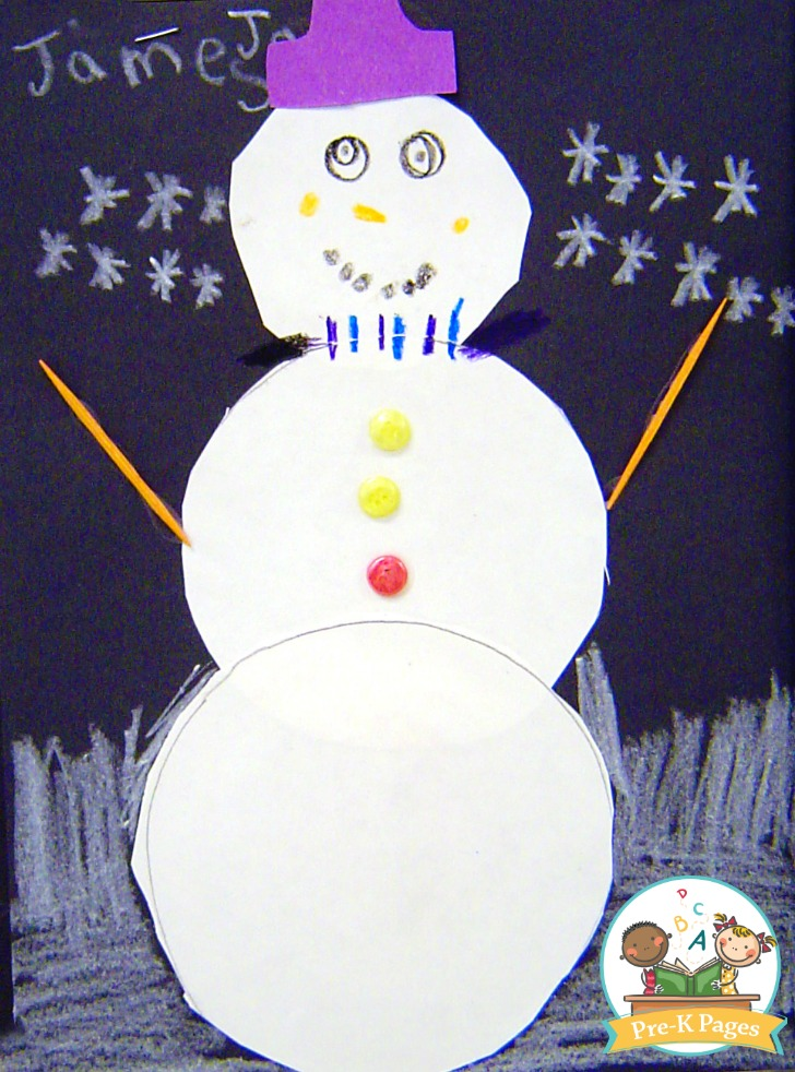 Paper Snowman Collage Art