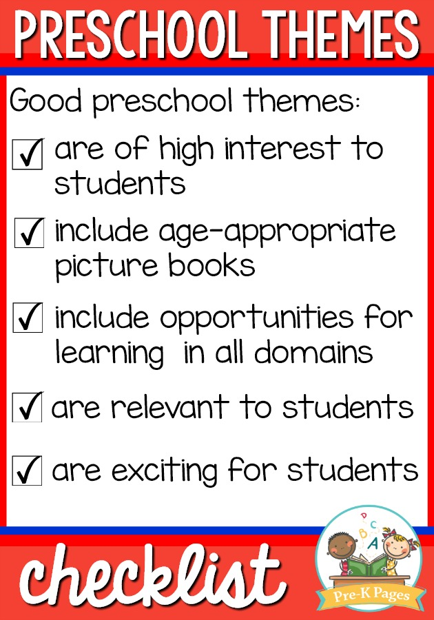 Preschool Themes Checklist