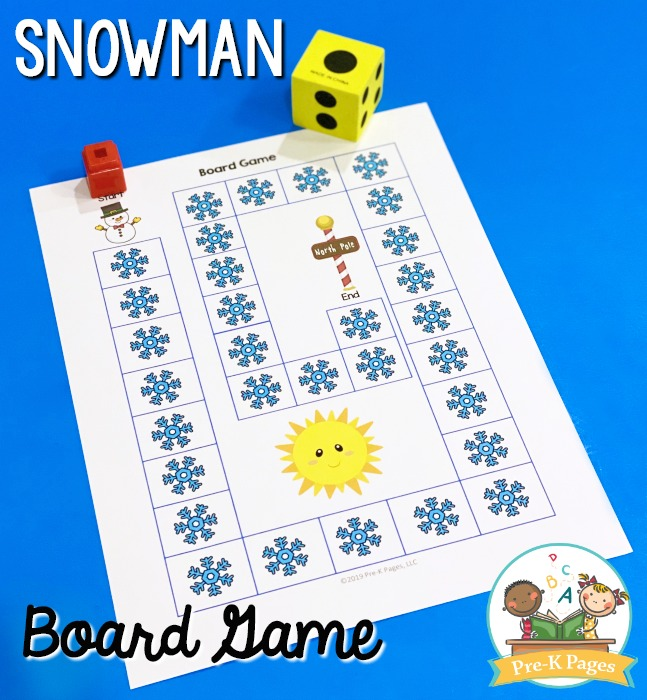 Snowman Board Game for Preschool