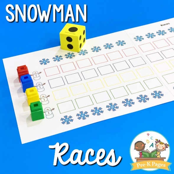 Snowman Races Game for Preschool