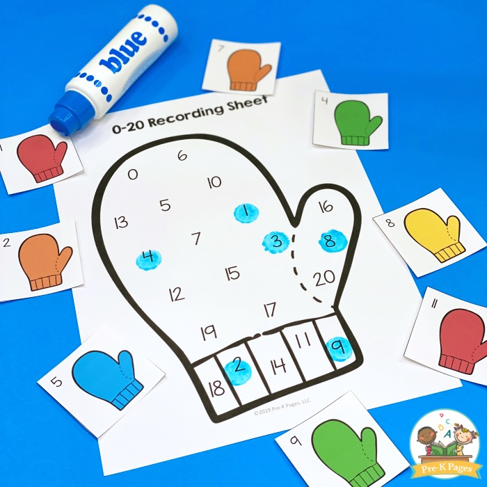 Winter Mitten Counting Activity
