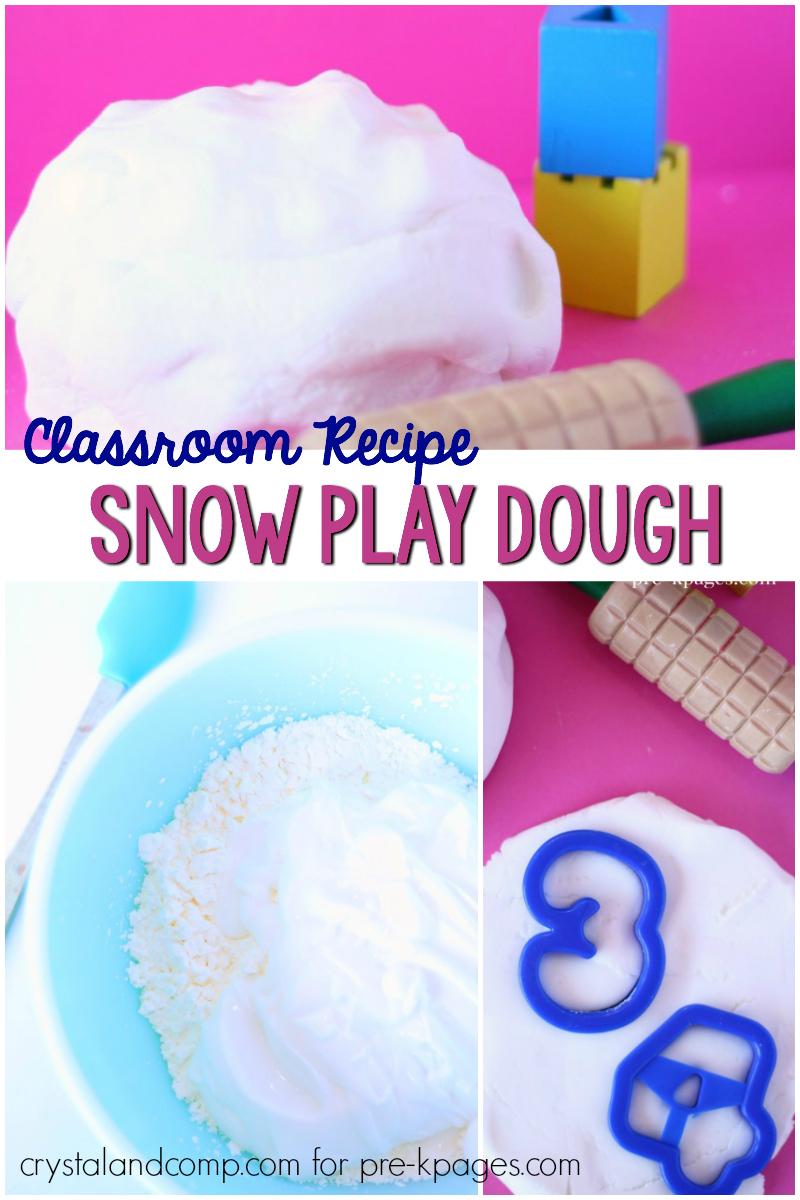 snow play dough recipe for preschool