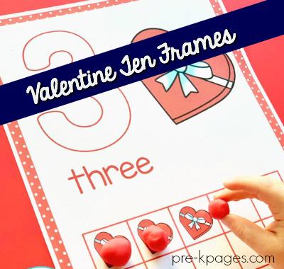 valentine ten frames for preschool