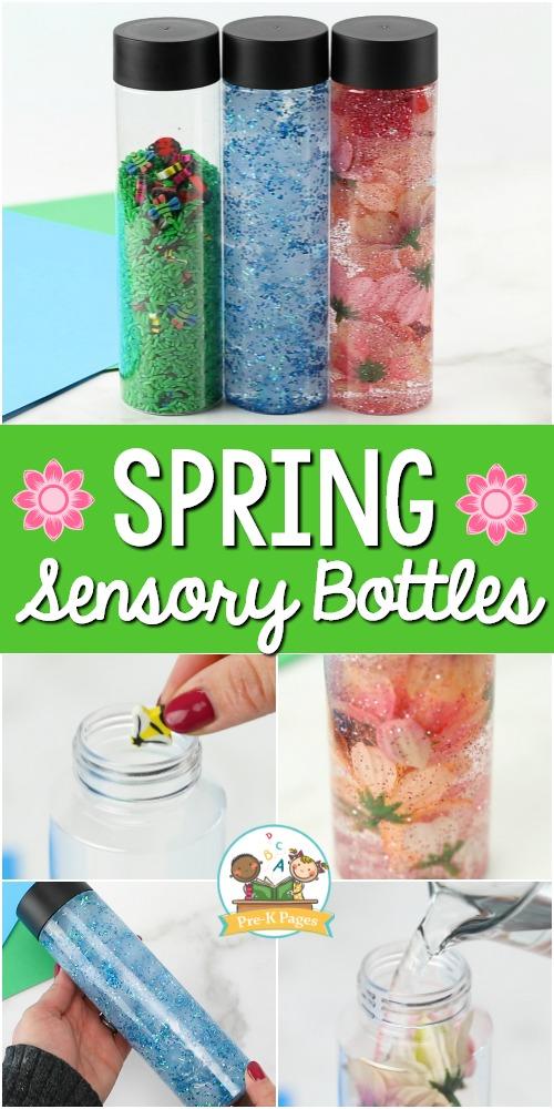 Spring Sensory Bottles for Preschool