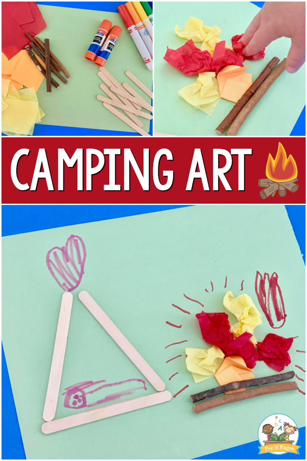 camping theme process art for preschool