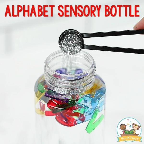 Alphabet Sensory Bottle with Glitter