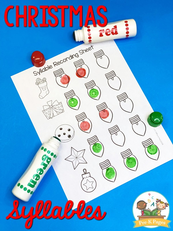 Christmas Syllable Stamping Activity