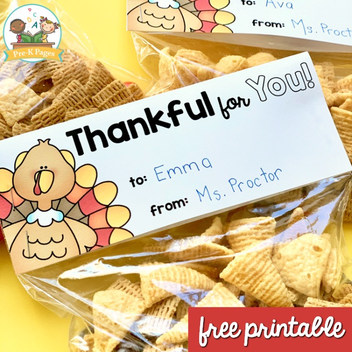 Free Printable Thanksgiving Treat Bag Topper