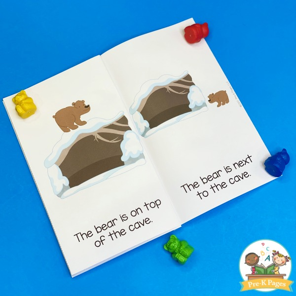 Printable Position Words Book for Pre-K