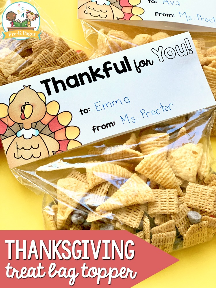Printable Thanksgiving Treat Bag Topper