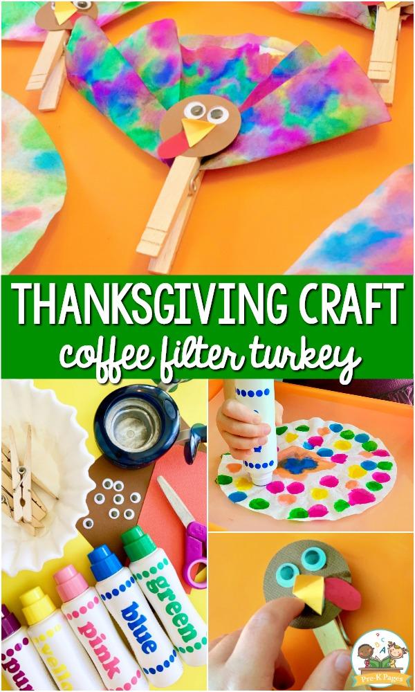 Thanksgiving Craft Coffee Filter Turkey