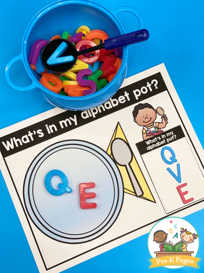 preschool literacy activity; teaching kids letter names; learning about letters; alphabet activity for preschoolers; preschool activity;