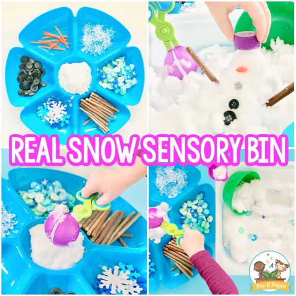 Winter Snow Sensory Bin for Preschool