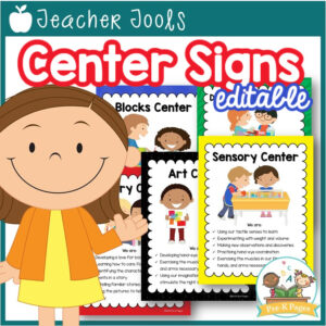 Editable Center Signs for Preschool and Pre-K