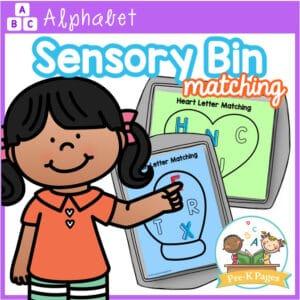 Uppercase Sensory Bin Letter Matching
