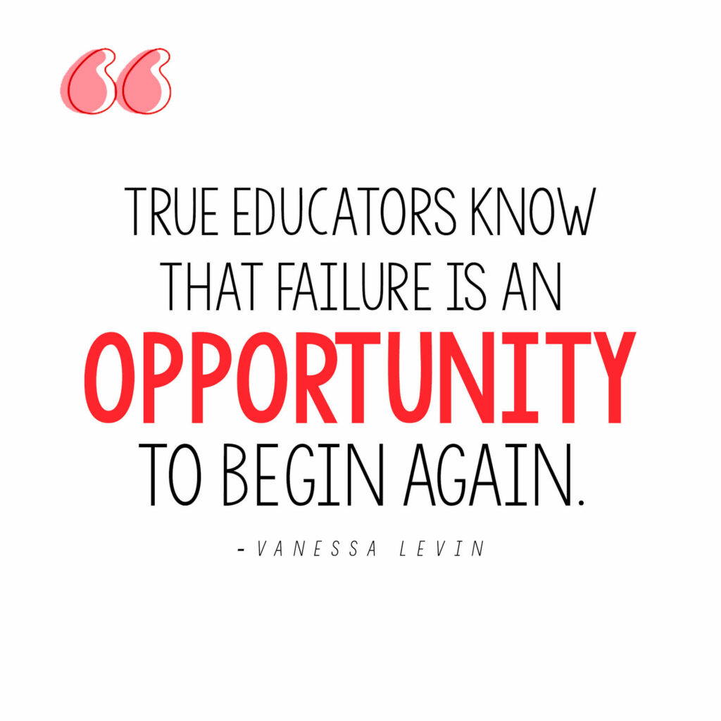 Vanessa Levin quote on teachers dealing with failure