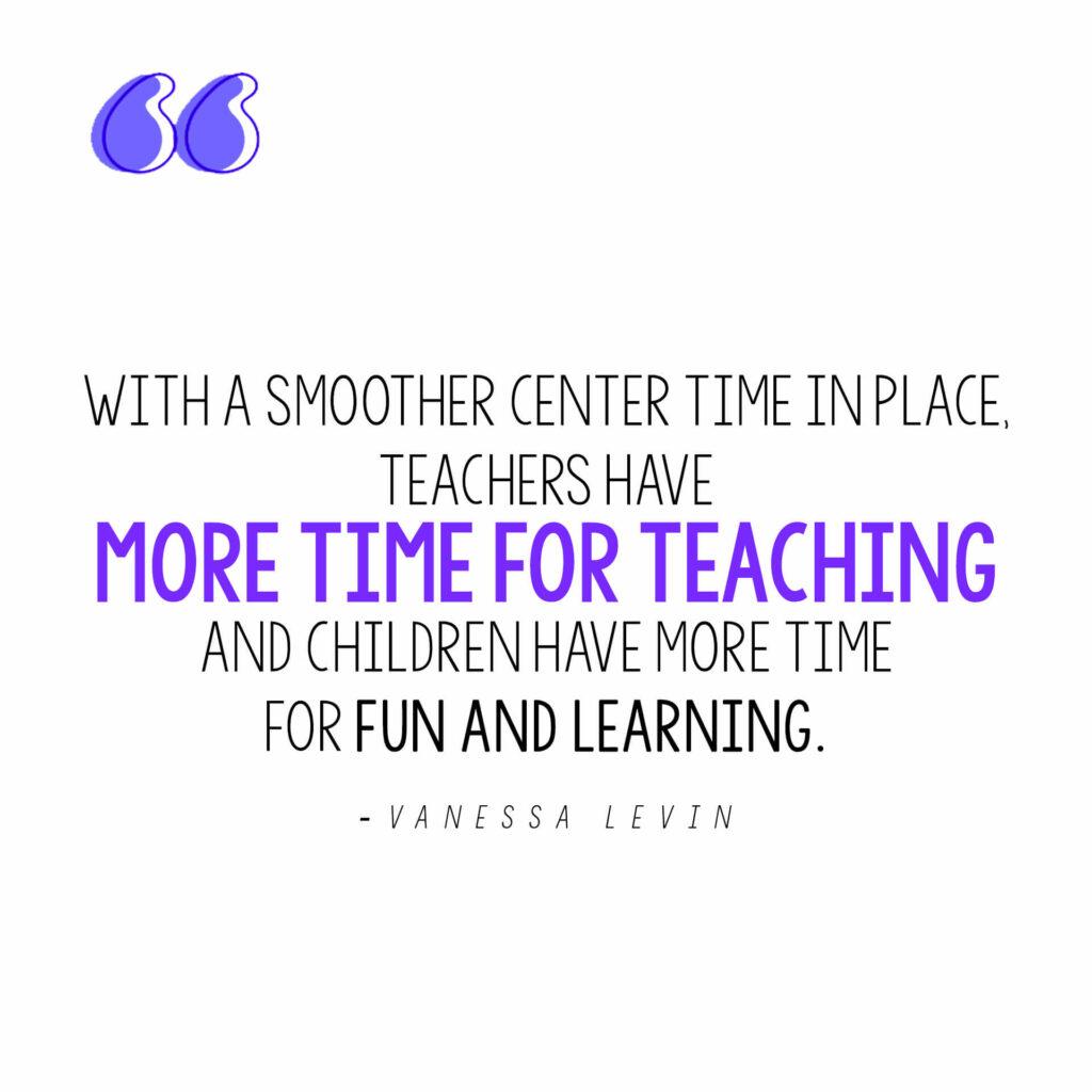 Vanessa Levin quote on why smooth-running learning centers are essential for preschool and pre-k