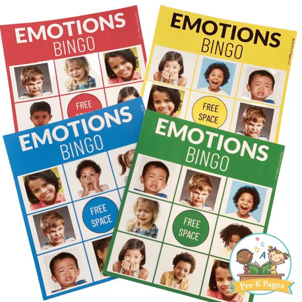 Feelings and Emotions Bingo Game for Preschoolers