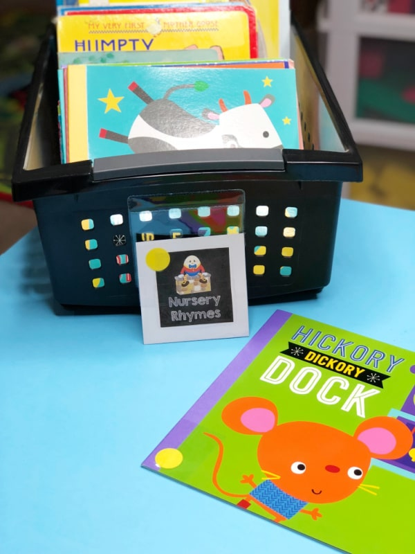 Color-coding books for your preschool library center