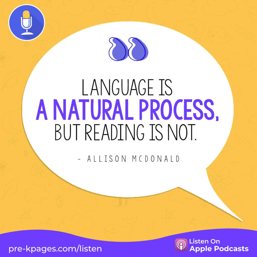 """[Image quote: """"Language is a natural process, but reading is not."""" ]"""