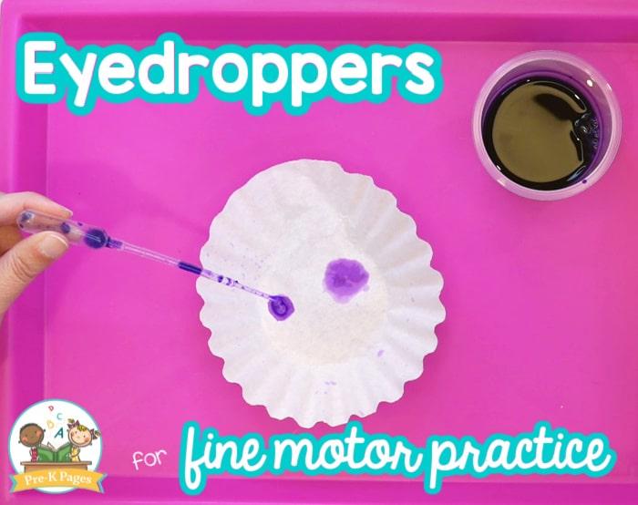 Eyedroppers for Fine Motor Practice