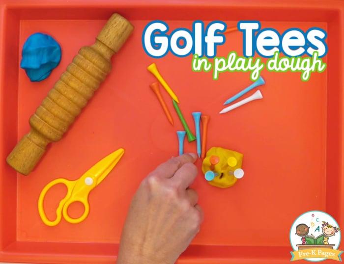 Golf Tees in Play Dough