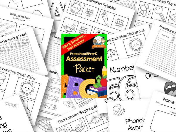 Ink Saver Preschool Assessment Packet in Black and White