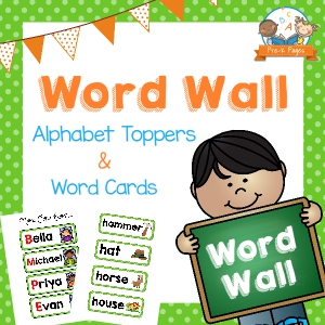 Printable Word Wall Kit for Preschool with Green Polka Dots